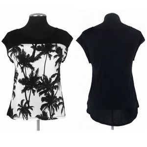 Express - Palm Tree Mixed Media Cap Sleeve Tee Shirt